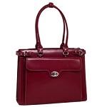 McKlein Womens Red Winnetka Italian Leather Laptop Briefcase