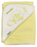 Mommy & Me, Lamb Velour Hooded Baby Bath Towel, Yellow