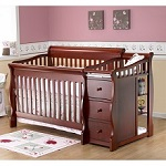 Sorelle Tuscany 4-in-1 Convertible Fixed Side Crib and Changing Table Combo, Cherry